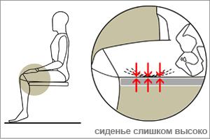 неправильная высота сидения офисного кресла